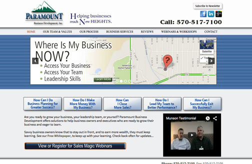 website designer, Brian hunter,Paramount Business Development website