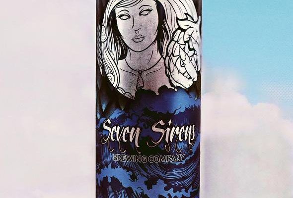 seven sirens brewery beer label design for crowler